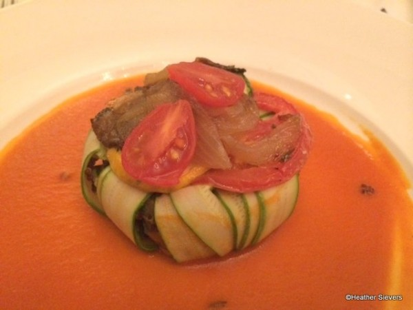 Vegetarian Layered Ratatouille with Red Quinoa , Black Eyed Peas and Tomato Coulis