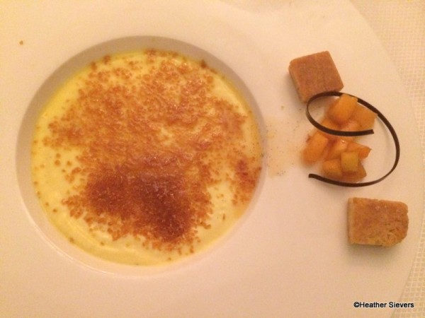 Vanilla Creme Brulee with Apricot Conserve and Cognac Flambe