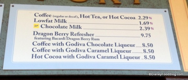 Refreshment Port Drink Menu