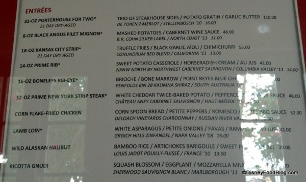 A portion of the Yachtsman Steakhouse Menu