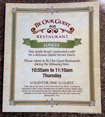 Return Card for Be Our Guest Restaurant Lunch Dining