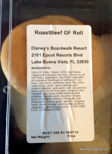 Ingredients label on Gluten Free Roast Beef