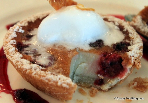 Cherry Clafoutis with Lemon Sorbet -- Cross Section