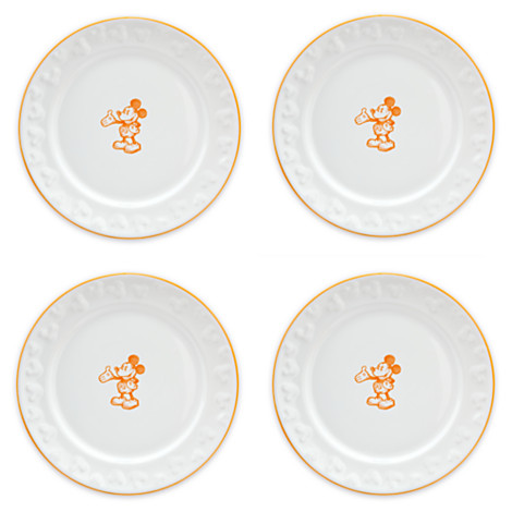 Gourmet Mickey Mouse White Dessert Plates with Pumpkin Trim