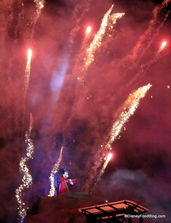 Mickey in Fantasmic! at Hollywood Studios