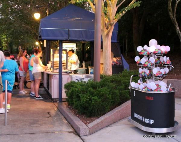 Snack kiosks outside of amphitheater