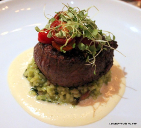 Le Cellier Filet with Smoked Bacon, Spinach Risotto, and Parmesan-Butter Sauce