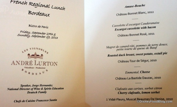 Menu for the French Regional Lunch -- Click to Enlarge