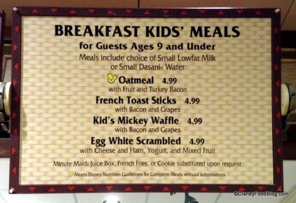 Kids' Breakfast Menu