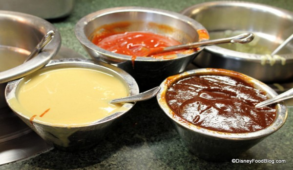 Condiments -- Honey Mustard, Ketchup, and Barbecue Sauce