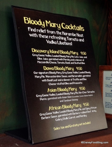 Bloody Mary menu at Dawa Bar