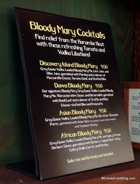 Bloody Mary menu at Dawa Bar