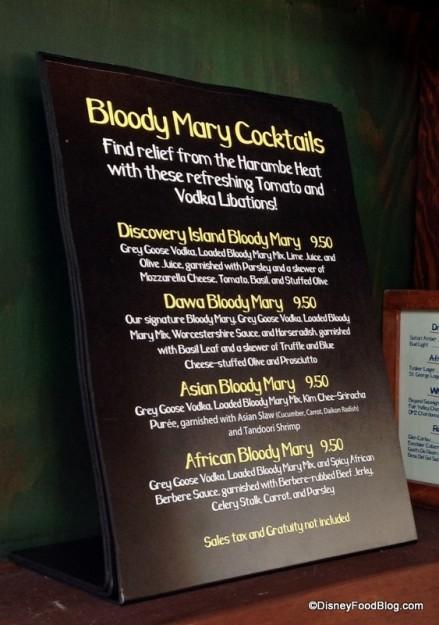 Bloody Mary menu