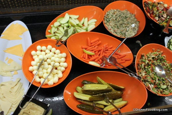 Deli Cheese and Meats, Butter, Apples and Carrots, Pickles, and Salads
