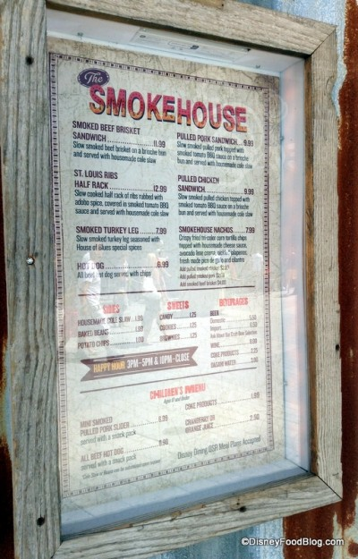 The Smokehouse Menu