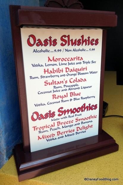 Oasis Slushies and Smoothies menu