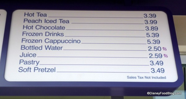 Joffrey's kiosk menu at the TTC