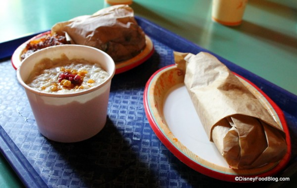 Breakfast Croissant, Ancient Hot Grain Cereal, and Breakfast Burrito