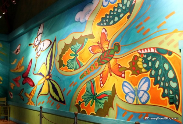 Butterfly mural in ordering area