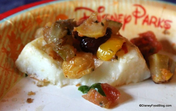 Provolone and egg white base topped with vegetable chutney