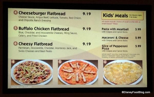 Flatbread menu