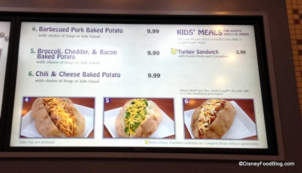 Baked Potato menu