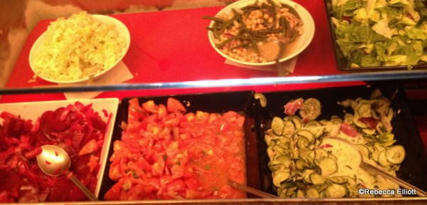 A Variety of Cold Salads Including Cabbage Salad, Bean Salad, Beet Salad, Chopped Tomato Salad and Cucumber Salad