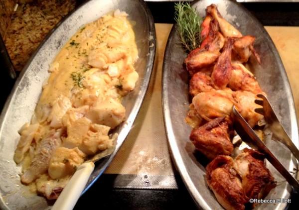 Fresh Cod in Mustard Cream Sauce and Roast Chicken