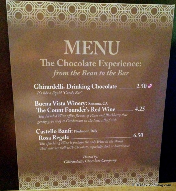 From Bean to Bar  Menu