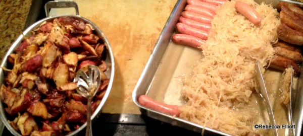Roasted Potatoes and German Sausages with Sauerkraut