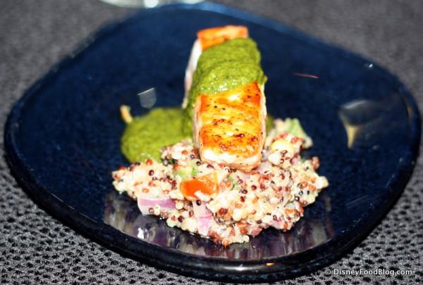Roasted Verlasso Salmon with Quinoa Salad and Arugula Chimichurri