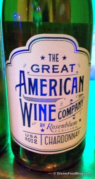 Great American Wine Company by Rosenblum -- Chardonnay -- at Block & Hans