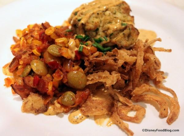 Succotash Served with Grandpa's Crabcake -- Up Close