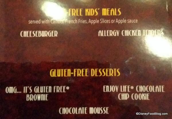 Gluten Free Kids Menu and Desserts Menu