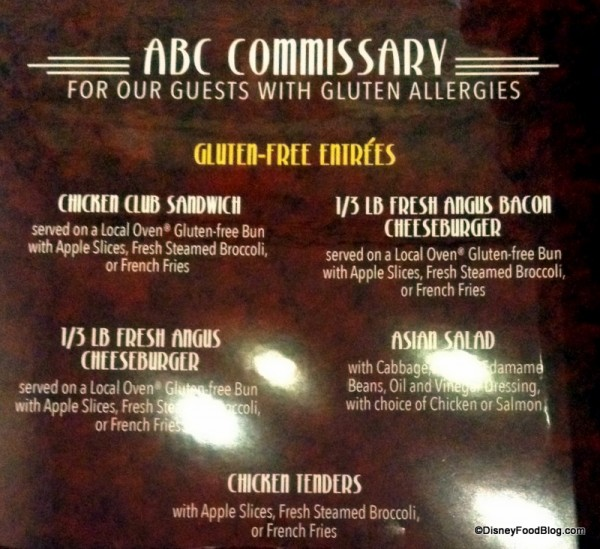 Gluten Free Menu currently at ABC Commissary