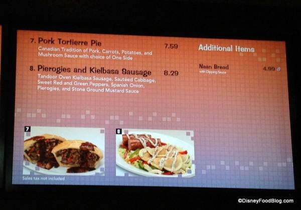 Different options on menu
