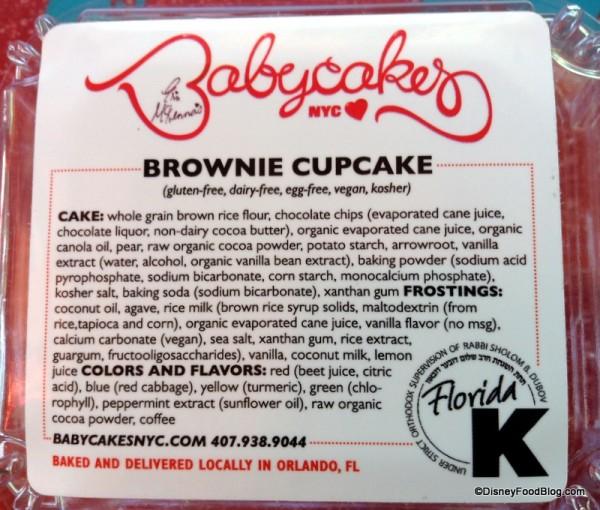 Brownie Cupcakes info on package
