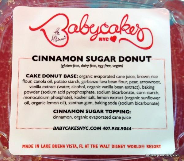 Cinnamon Sugar Donut package info