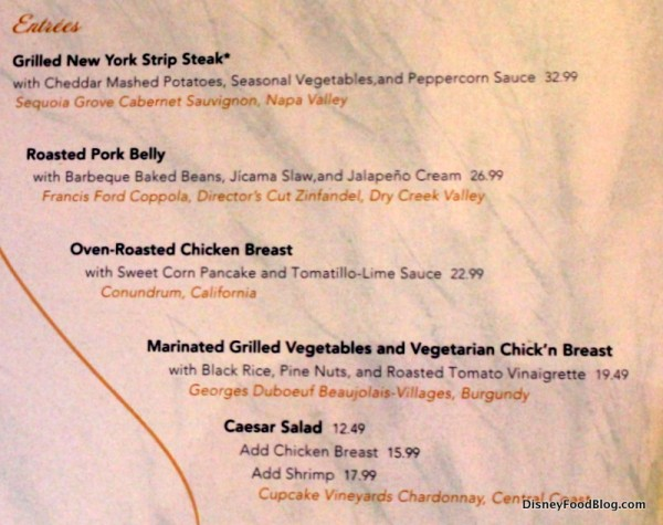 Coral Reef Entree menu -- Part 1