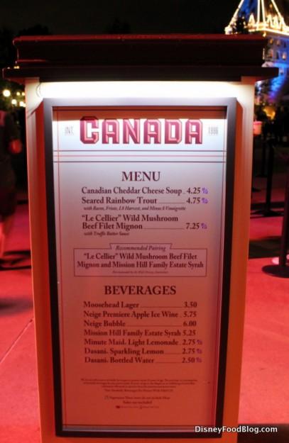 Canada menu
