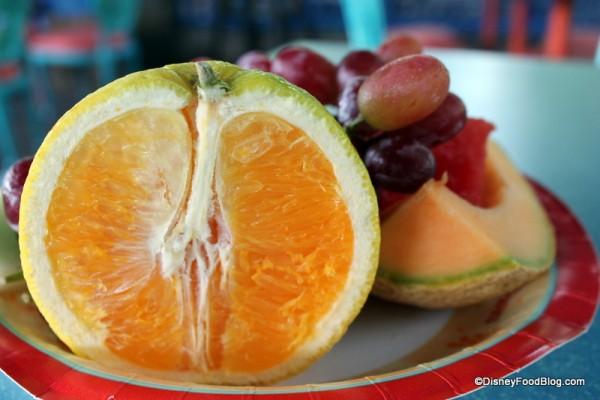 Close-up on orange half