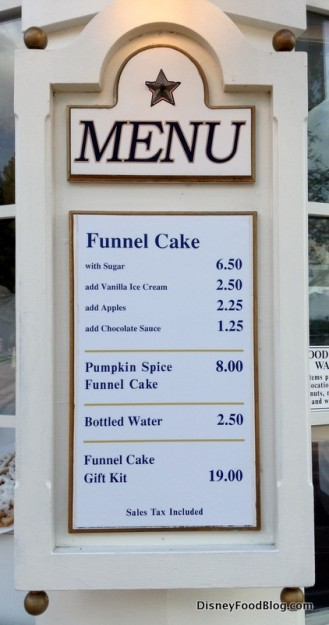 Funnel Cake kiosk menu