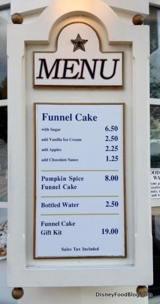 Funnel Cake kiosk menu