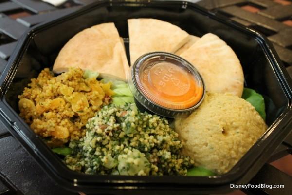 Vegan Trio (couscous, tabouleh, and hummus with pita)