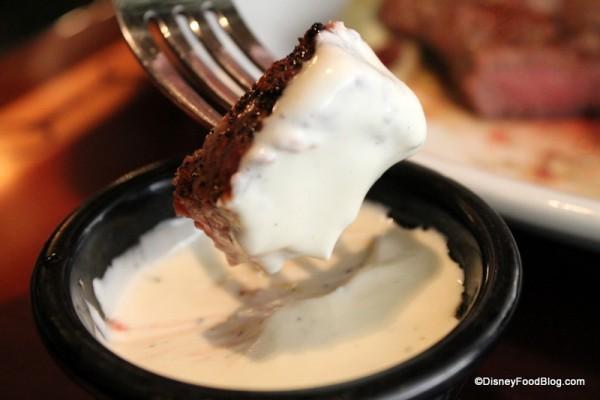 Steak dipped in Lobster Fondue