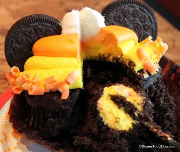 Candy Corn Cupcake -- Cross Section
