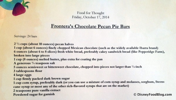 Frontera's Chocolate Pecan Pie Bars -- Ingredients