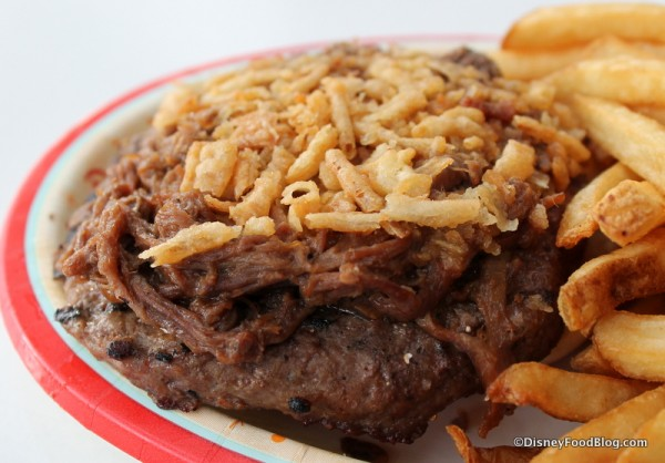 Brisket and crispy onions on top of burger