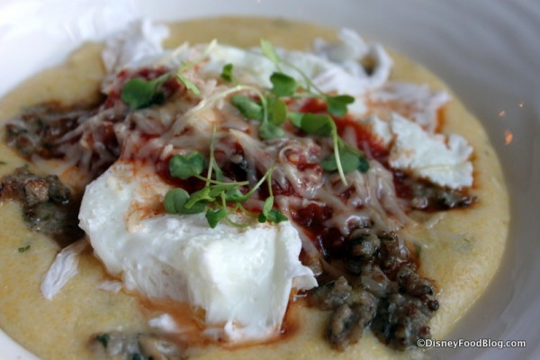 Poached Eggs, Fennel Sausage, and Tomato Gravy with Soft Polenta -- Up Close