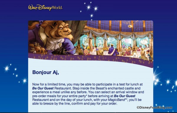 Be Our Guest FastPass+ Reservation Invitation